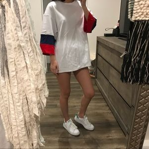 White oversized long shirt dress top blue red s m